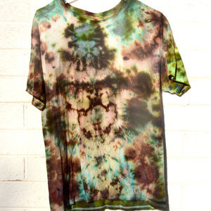Chartreuse Camouflage Brown tie Dyed T Shirt 2XL